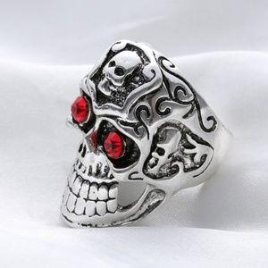 Other - Mens Biker Ring Skull Red Crystal eyes Size 11